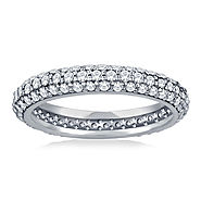 Pave Set Rounded Diamond Eternity Ring in 14K White Gold