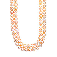 Double Strand Pink Freshwater Pearl Necklace with 14K Yellow Gold Clasp