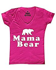 Shop4Ever® Mama Bear Women's V-Neck T-shirt Couples Shirts SLIM FIT