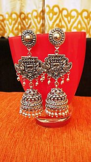 Afghani Silver Chandbali Ghungroo Oxidized Earrings