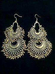 Afghani Silver Multibeads Chandbali Oxidized Earrings