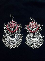 Afghani Multicolor Golden Flower Chandbali Oxidized Earrings