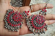 Afghan Pink Color Nag Chandbali Oxidized Earrings