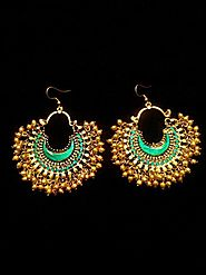 Afghan Red Full Meena Chandbali Oxidized Earrings
