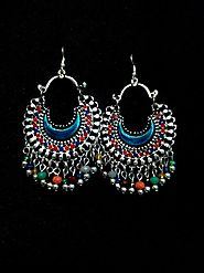 Afghan Blue Red Small Chandbali Oxidized Earrings