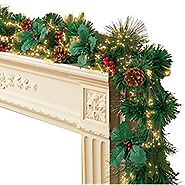 Fiber-Optic Holiday Faux Pine and Holly Lighted Garland with Timer