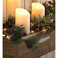 Indoor Decorative Battery Operated LED Lighted Mini Pine Cone Garland with Faux Greenery 72'' L