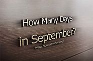 How Many Days are in September 2017?