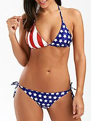 String Halter American Flag Bikini Set $13.34 @ Rosegal