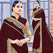 Get Stylish Brown Saree With Three Four Sleeves Lace Contrast Border