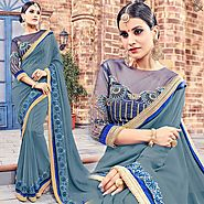 Boutique Style Grey Saree Online With Boat Neck Contrast Border