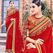 Red Trendy Saree With Three Four Sleeves Jewel Neckline Blouse Online