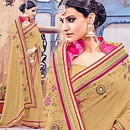 Beige Party Wear Saree With Lace Border And Close Back Blouse Online