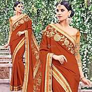 Three Four Sleeves Round Neck Blouse With Orange Fancy Saree Online