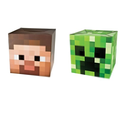 "Official Minecraft 12"" Steve & Creeper Exclusive Head Costume Mask Set of 2"