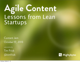 Tim Frick: Agile Content: Lessons from Lean Startups