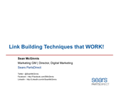 Sean McGinnis: Link Building Techniques that WORK!