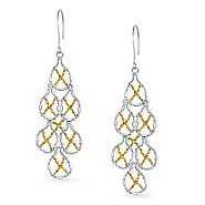 Beaded Chandelier Two Tone Earrings in Silver and 14K Yellow Gold