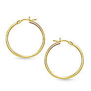 Slender Hoop Earrings in 14K Yellow Gold
