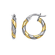 14K Two Tone Gold Twirled Hoop Earrings
