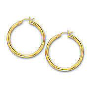 14K Yellow Gold Medium Size Hoop Earrings
