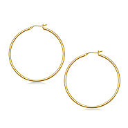 Classic Slim Hoop Earrings in 14K Yellow Gold