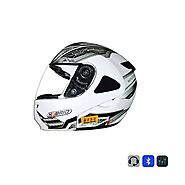 Bluetooth Helmet in Matte White Color @ 10% Off