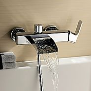 Chrome Finish Single Handle Wall Mount Waterfall Bathtub Faucet (Hand Shower not included)