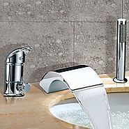 Chrome Finish Contemporary Two Handles Waterfall Widespread Tub Faucet With Handshower