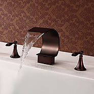 Antique Style Waterfall Oil-rubbed Bronze Two Handles Bathtub Faucet
