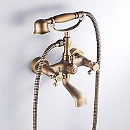 Antique Brass Finish Inspired Tub Faucet with Hand Shower