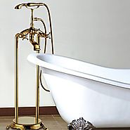 Ti-PVD Finish Antique Floor Standing Tub Faucet with Hand Shower