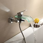 Contemporary Chrome Finish Brass Bathtub Faucet Shower Faucet