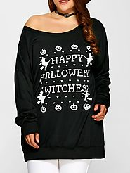Pullover Letter Witch Print Sweatshirt @ Rosegal