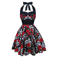 Skull Rose Rockabilly Gothic Halloween Dress @ Etsy
