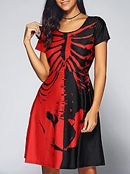 Halloween Skeleton Print Contrast Color Dress @ DressLily