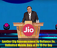 Another Big Announcement by Reliance Jio, Unlimited Mobile Data at Rs 10 Per Day