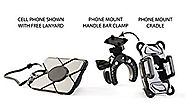 Bike & Motorcycle Phone Holder with FREE Cell Phone Lanyard! Sleek Handlebar Mount Suitable for Motorbikes, Mountain ...