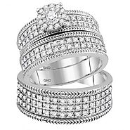10K White Gold Trio Set His and Her Wedding Rings Set 3pc 7/8ctw Diamonds