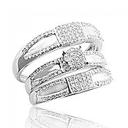 His and Her Trio Rings Set 10K White Gold 15mm Wide 1/2cttw Diamonds