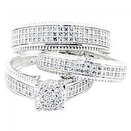 His And Her Trio Rings Set 10K White gold 3/4cttw Diamonds Millgrain Ornate Style Wide Bands