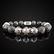 Natural Labradorite and Howlite Luxury Silver Duo Bracelet