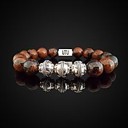 Natural Red Tiger Eye Luxury Silver Bracelet