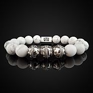 Natural Howlite Luxury Silver Bracelet