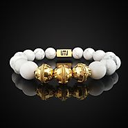 Natural Howlite Luxury Gold Bracelet