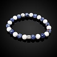 Natural Matte Frosted Howlite and Blue Jasper Duo Classic Bracelet