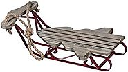 Retro Christmas Tree Shape 22 inch Wood and Metal Winter Sled Decoration
