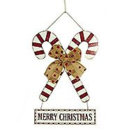 "Glitzhome 18.11""H Handcraft Wooden Candy Cane Christmas Wall Decoration"