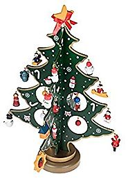 "Wooden Tabletop Christmas Tree with Miniature Ornaments - 9"" Tall"