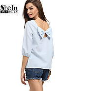 Womens Blouses For Summer Ladies Striped Round Neck Three Quarter Length Sleeve
